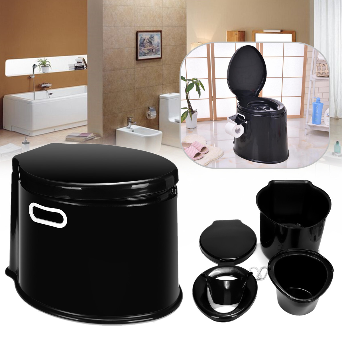 Camping Toilet Outdoor Travel Plastic 5 Litre Camp Toilet Portable Camping Rv Caravan Commode With Paper Hook Camping Shop