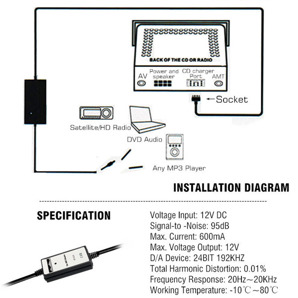 car mp3 player radio interface aux in adapter for mazda 2 3 5 323