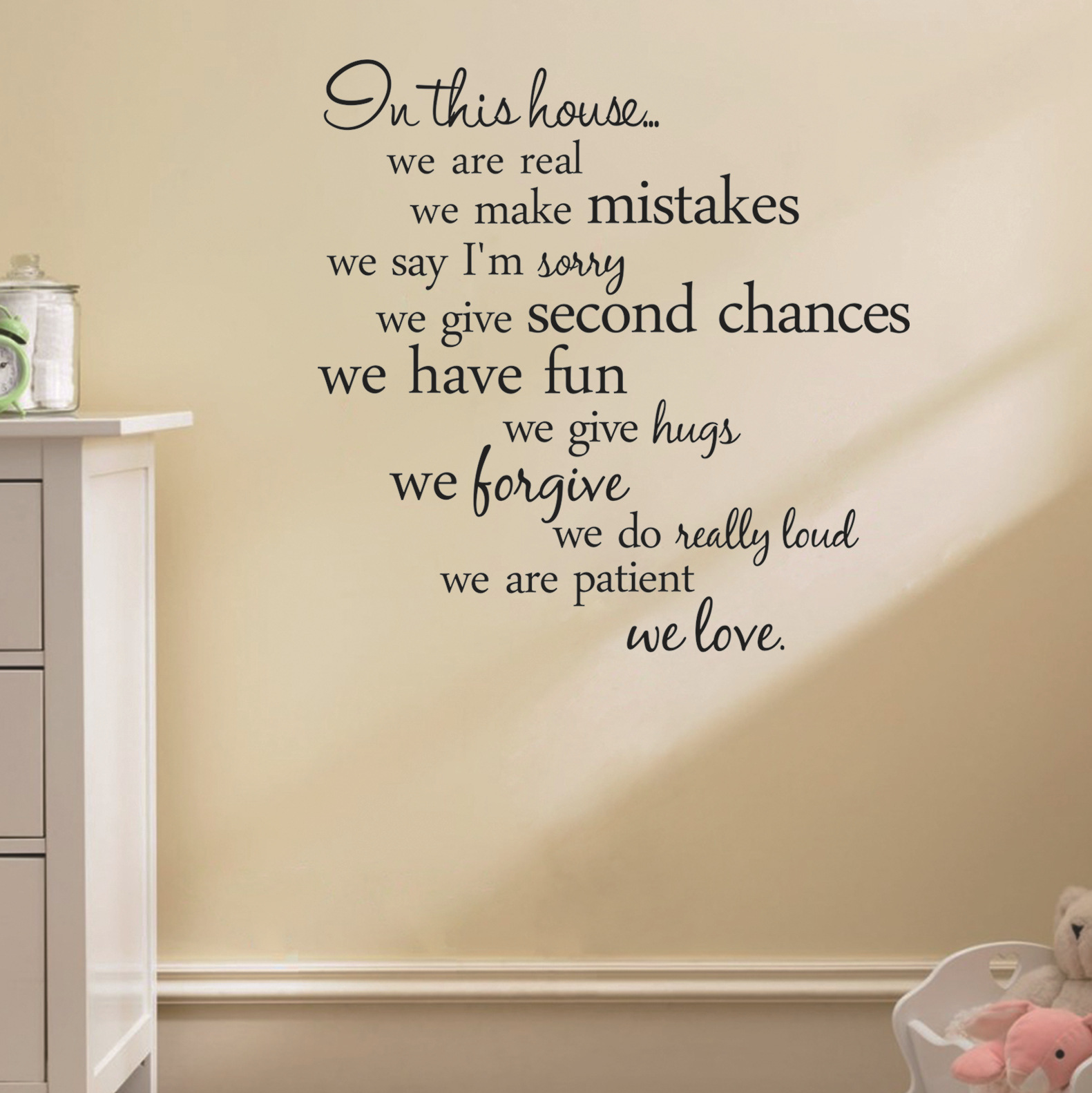Tuinieren Spreuken 60x56cm In This House Engelse Brief Spreuken Wall Stickers Home Decoration