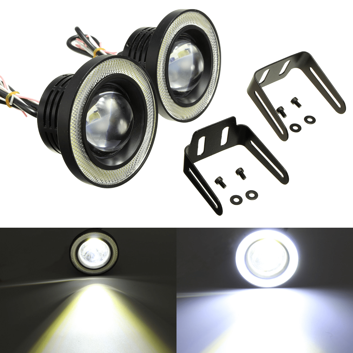 Light Projector 2pcs 3 5 Inch Led Fog Light Projector Angel Eyes Super Lamp W Cob Halo Rings