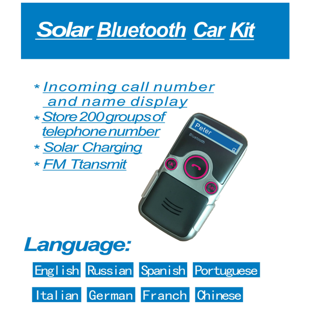 Kit Bluetooth Manos Libres Solar Powered Bluetooth Manos Libres Coche Kit Digtal Lcd
