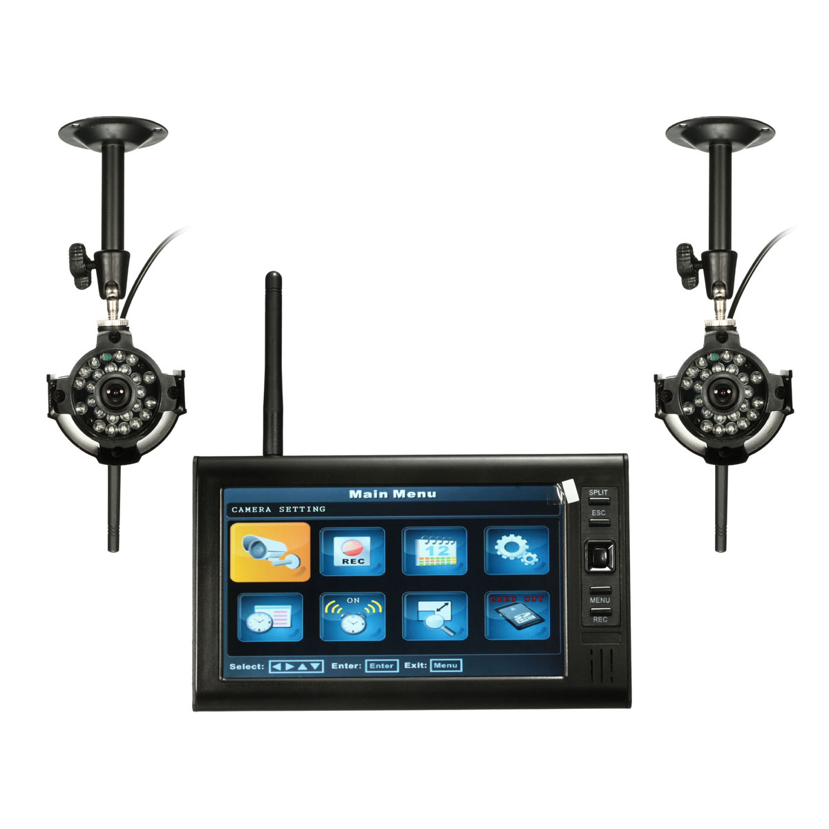Cctv Home 7inch Ldc Monitor Dvr With 2 Wireless Cctv Camera Motion Detect Home Security System