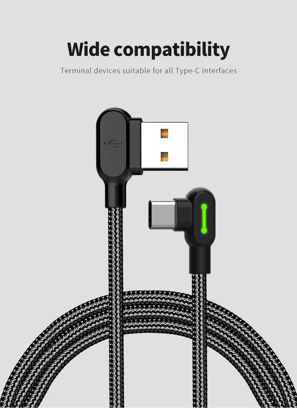 Angle Reversible Mcdodo Double 90 Degree Angle Type C Reversible Braided Fast Charging Data Cable With Light 1 2m