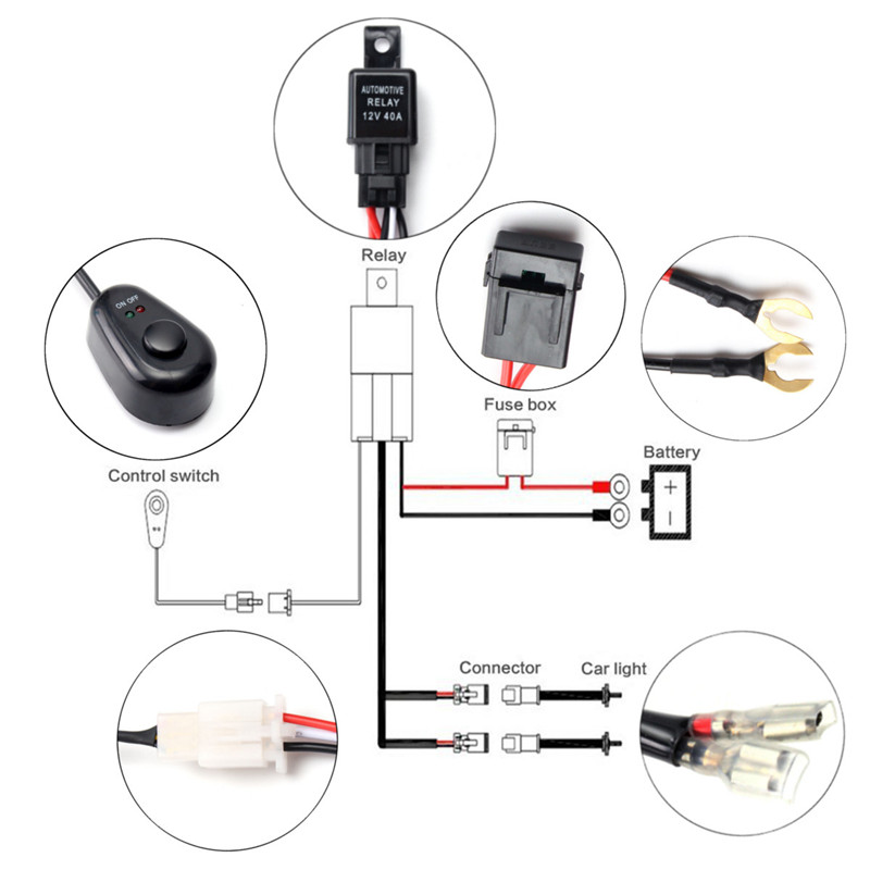 universal led light wiring harness with switch and relay