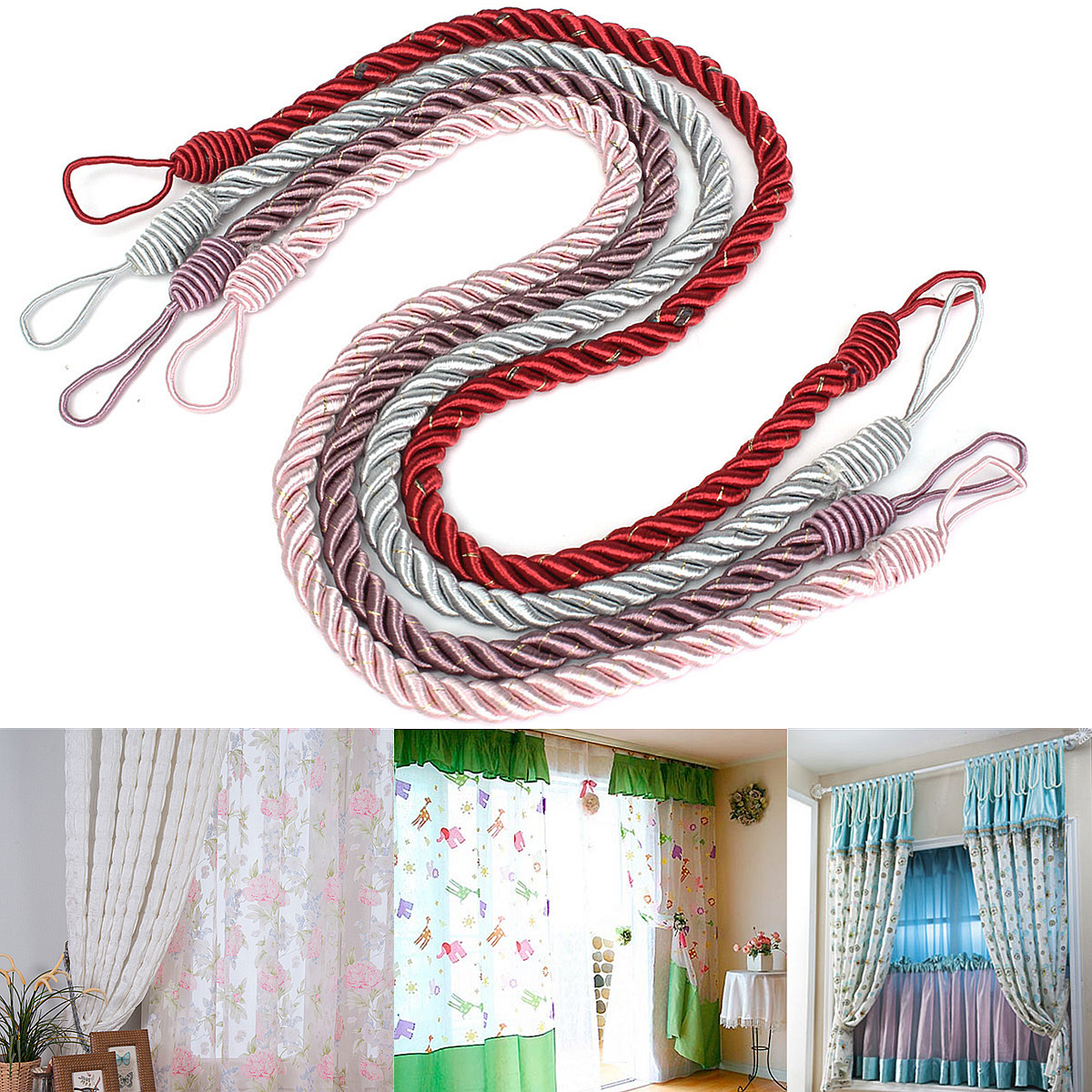 Rope Curtain Curtain Tassels Tying Rope Tie Back Handmade Curtain Cord Home Window Decor 4 Colors
