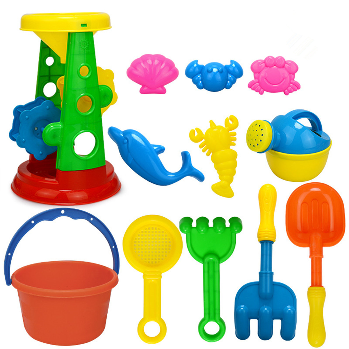 Bad Set For Baby 12pcs Set Summer Beach Sand Play Toys Sand Water Toys Kids Seaside Bucket Shovel Rake Kit Play Toys