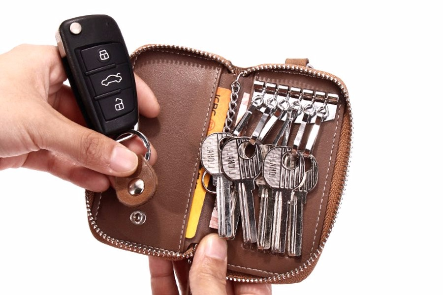 Women Men39s Leather Car Key Bag Wallet Car Housekeeper
