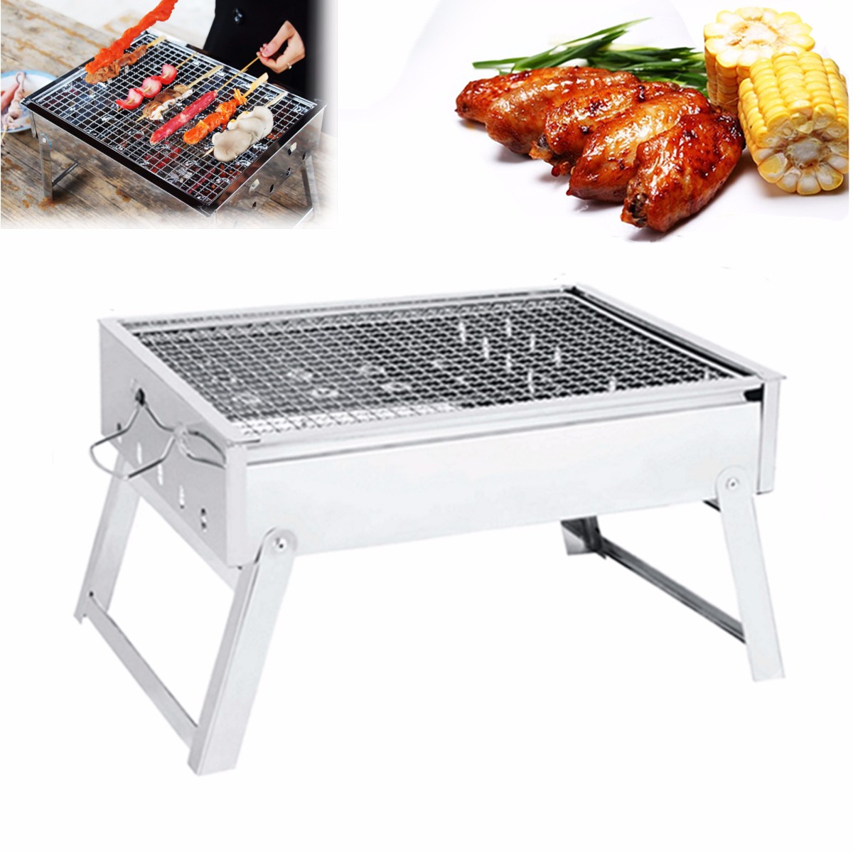 Grill Camping Ipree Portable Folding Charcoal Stove Barbecue Oven Cooking Picnic Camping Bbq Grill Camping Shop