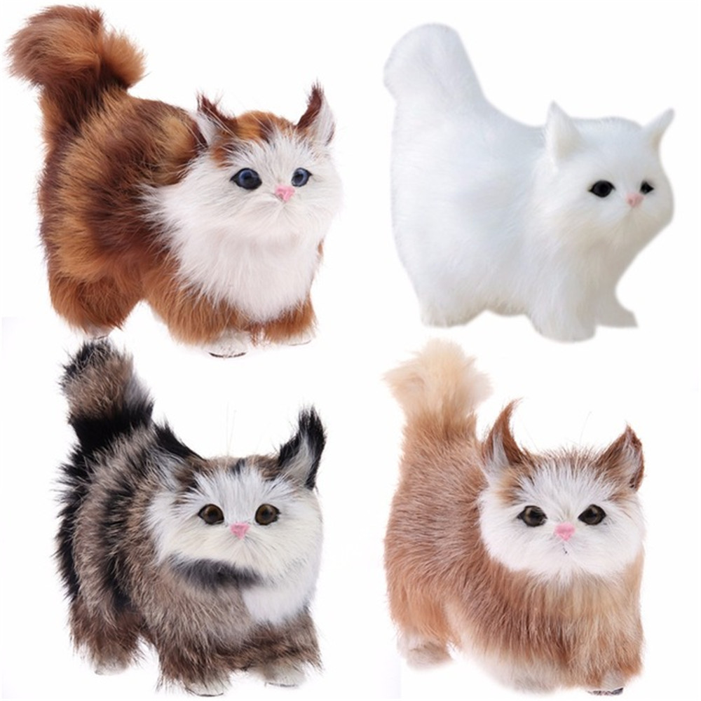 Cat Plush Toy Cute Cat Lifelike Miaow Simulation Kitty Stuffed Plush Toy Realistic Home Desk Decoration