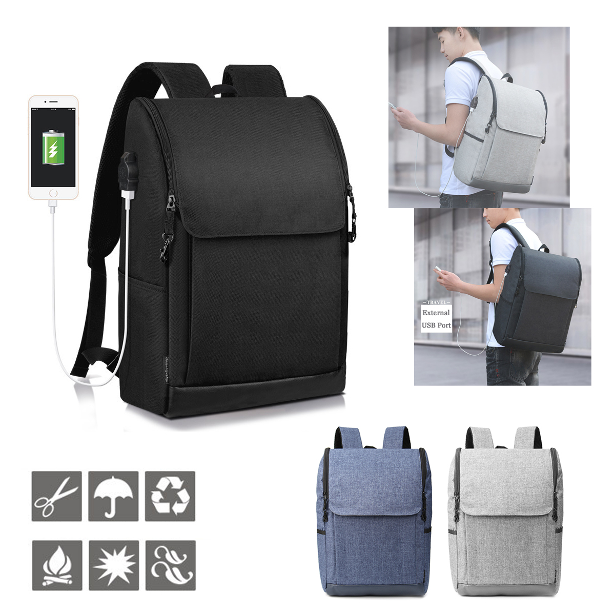 Travel Rucksack Anti Theft Backpack With Usb Charge Port Waterproof Laptop Travel Rucksack School Bag Redwood And Stream Camp Supplies