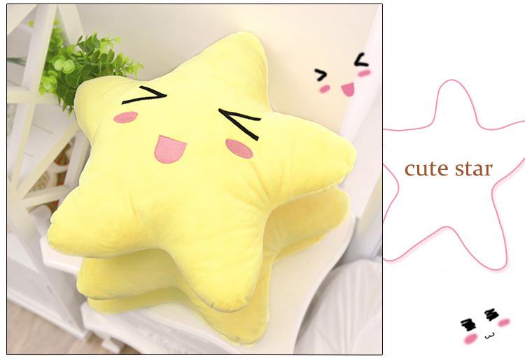 Cotton Cute Cartoon Star Expression Shape Throw Pillow