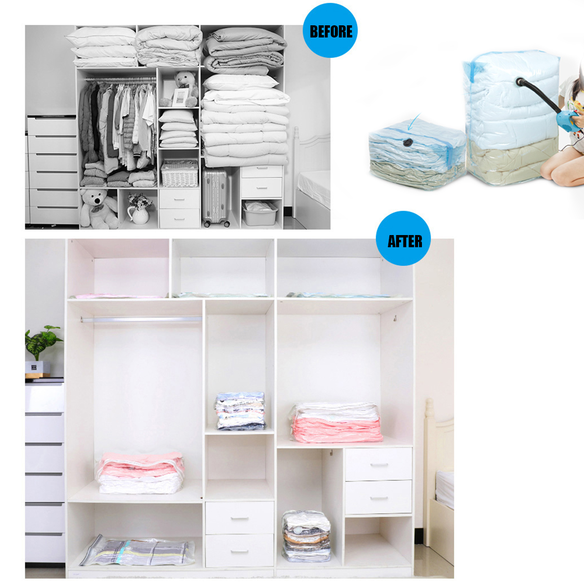 Clothes Storage 3d Large Vacuum Bag Clothes Storage Bags Compressed Organizer Space Saver Dust Proof