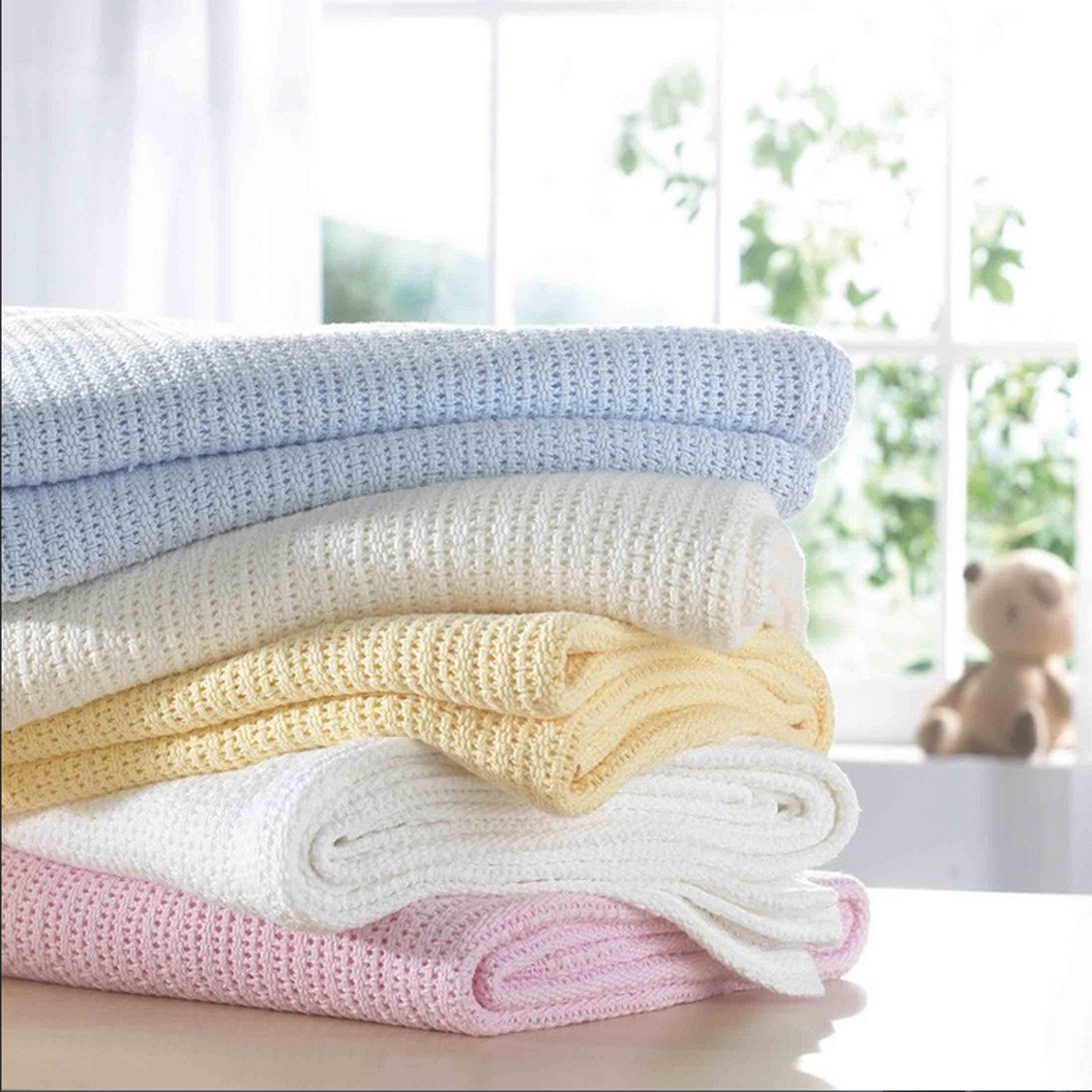 Cellular Cot Blankets 100x75cm Cotton Baby Infant Kids Soft Cellular Blanket Basket Crib Pram Cot Bedding Sleeping Bath Shower Towel