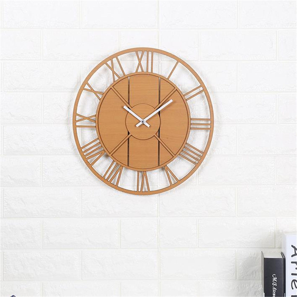 Arte Verde Essential Oil Modern Wall Clock Round Silent Movement Skeleton Roman Numeral Home Minimalist Room Clock