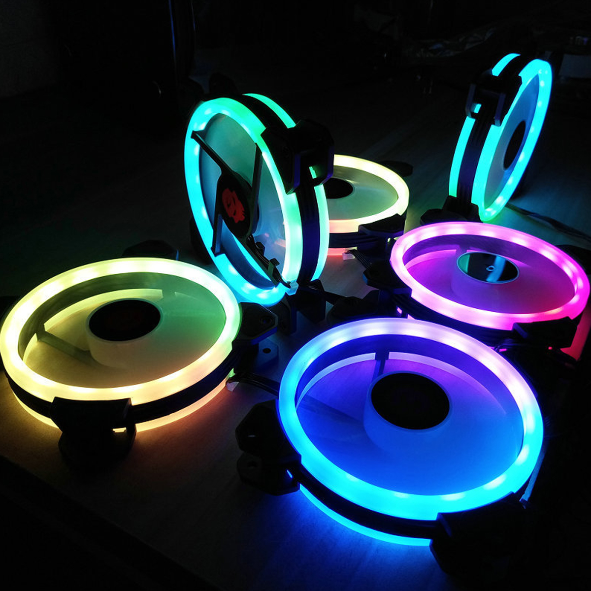 Lighting Rgb Coolmoon 6pcs 120mm Adjustable Rgb Led Light Computer Pc Case Cooling Fan With Ir Remote
