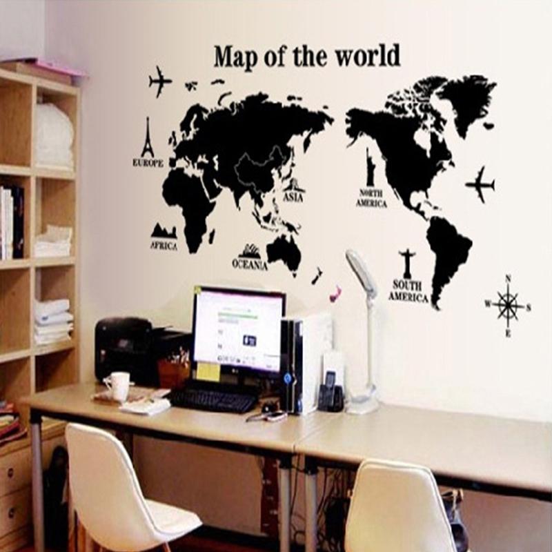 removable poster letter world map 3d art decor vinyl wall sticker
