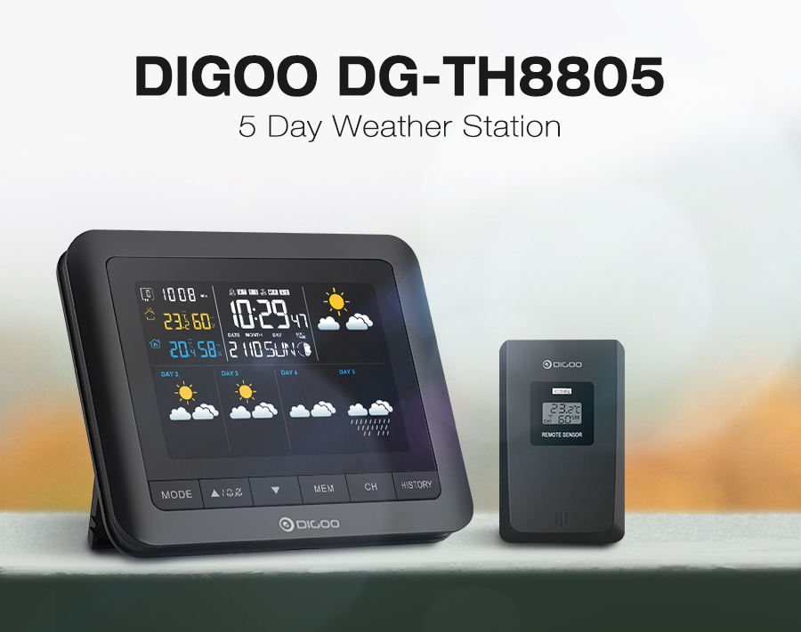 digoo dg-th8805 wireless five day forcast version weather station