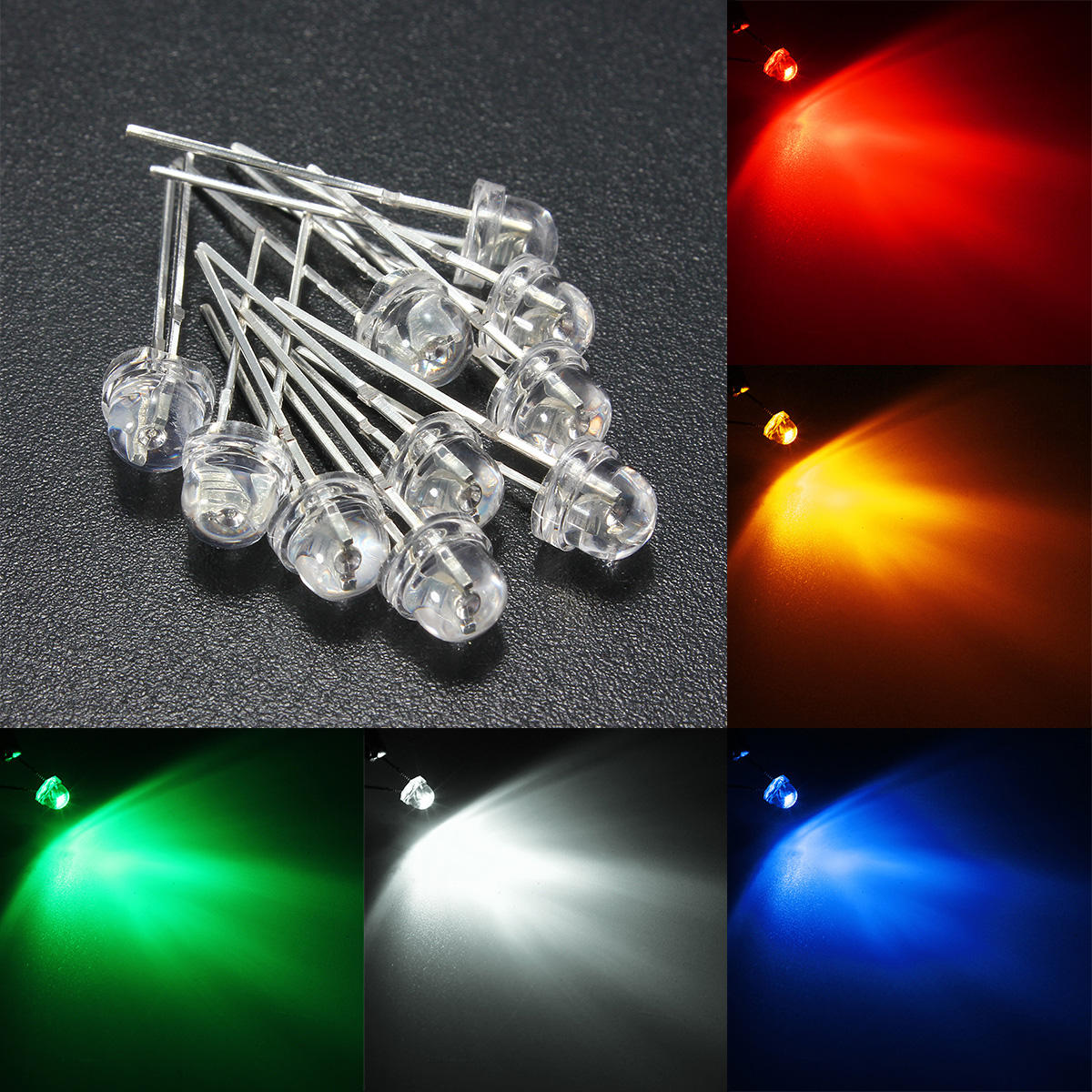 Diode Lighting 10pcs 5mm 5 Color Water Clear Straw Hat Led Diodes Assortment Diy Light