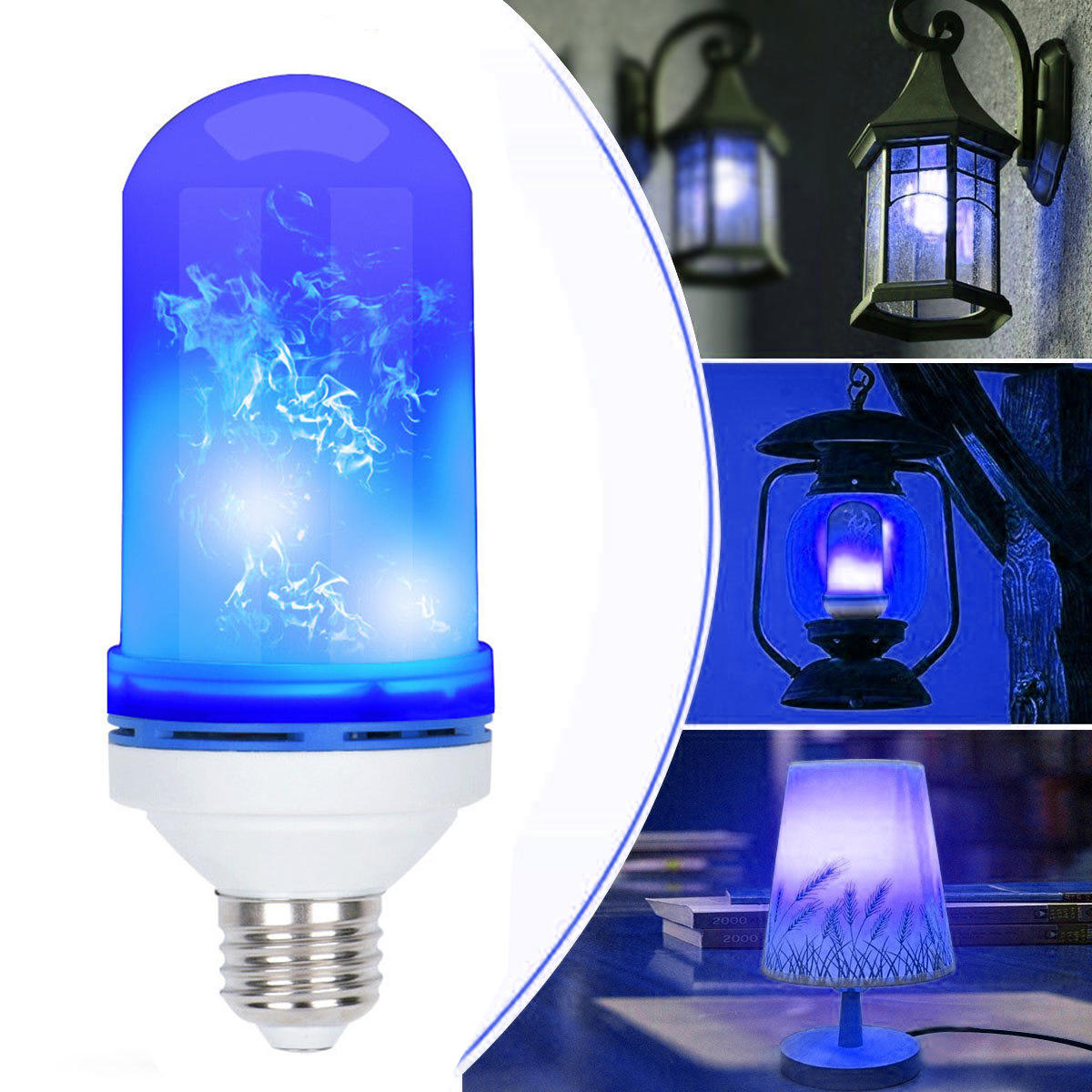 Flame Led Lamp E27 Ac85 265v 4 Modes E27 Blue Led Flicker Flame Light Bulb Simulated Burning Fire Effect Festival Lamp