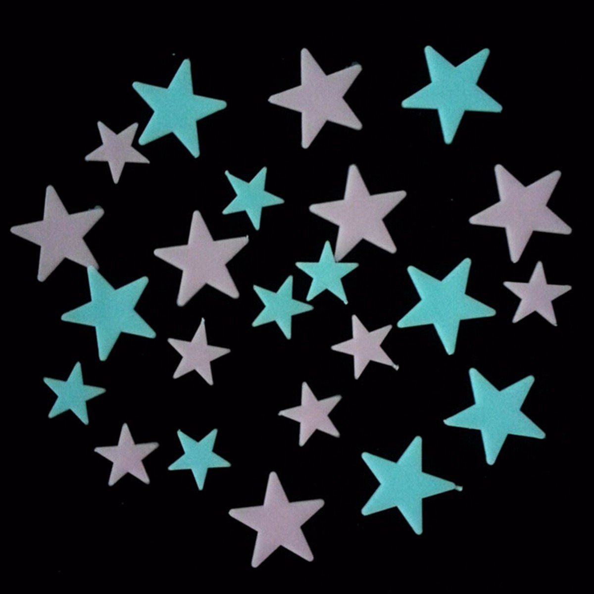 Stars Room Decor 24pcs Stars Noctilucence Wall Stickers Colorful Fluorescent Home Kid Room Decor Gift
