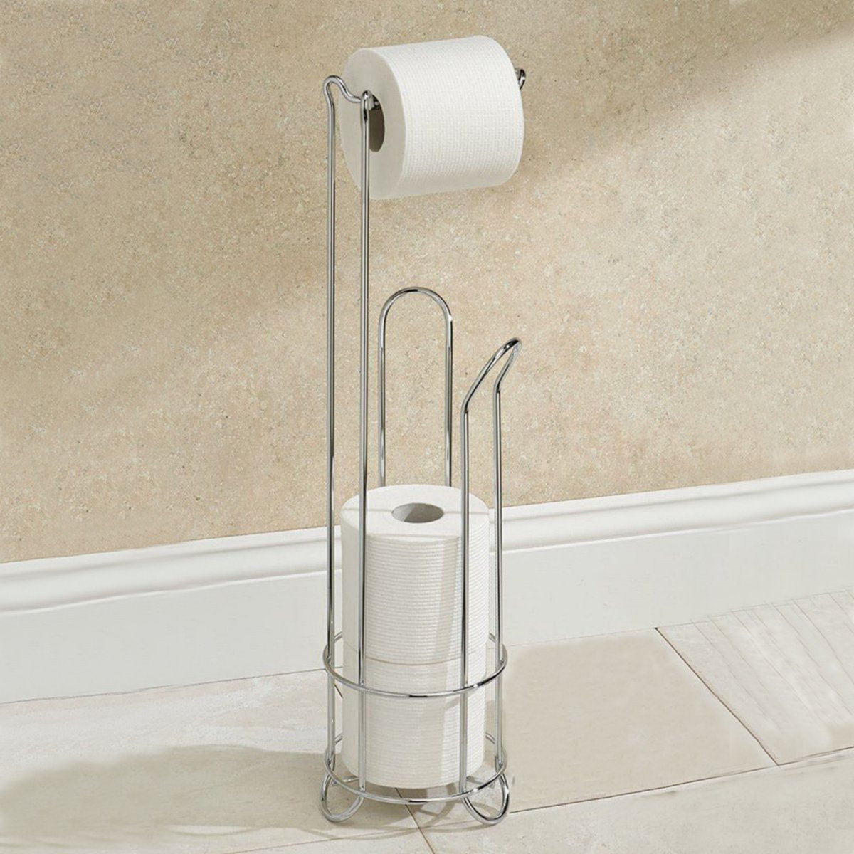 Covered Toilet Paper Storage Electroplating Stainless Steel Toilet Paper Holder Bathroom Tissue Storage Stand
