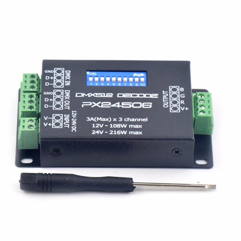Led Strip Light Dmx Controller Px24506 Dmx 512 Decoder Driver Amplifier Controller For Rgb Led Strip Light Dc12v 24v