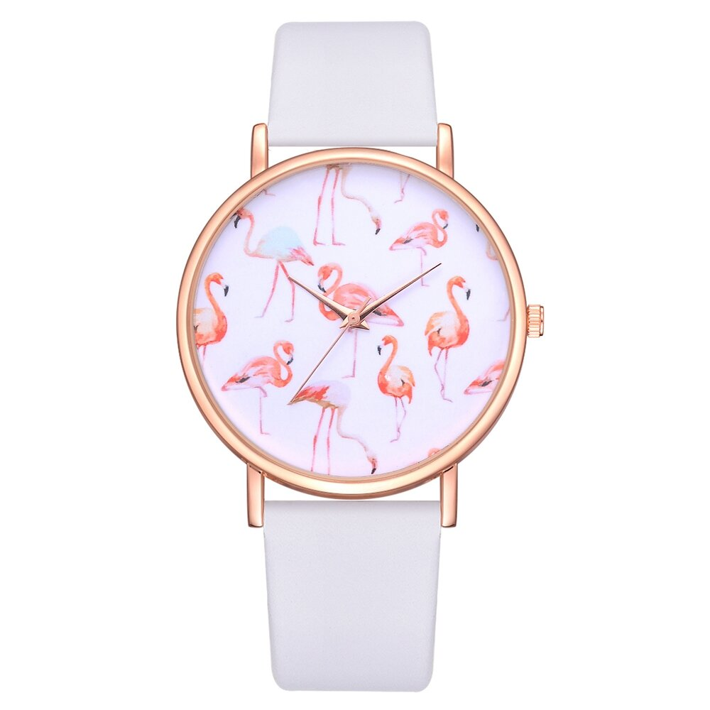 Leather Strap Rose Gold Watch Rose Gold Case Flamingo Women Wrist Watch Leather Strap Casual Quartz Watches