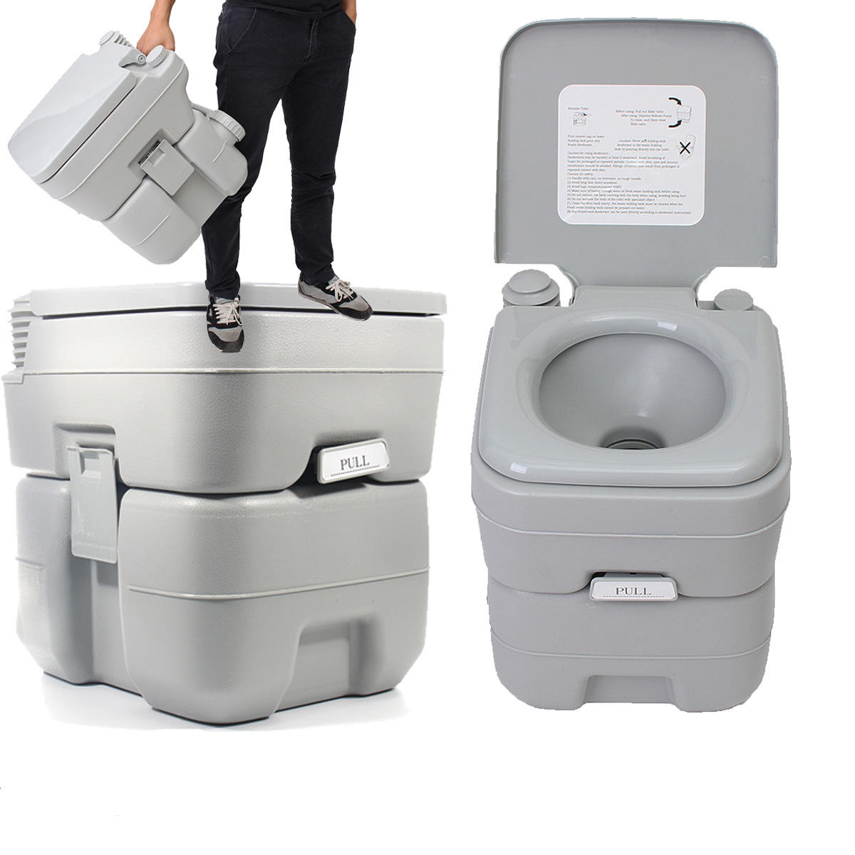 Camping Toilet 20l Portable Toilet Outdoor Camping Potties W Closestool Hiking Travel Emergency