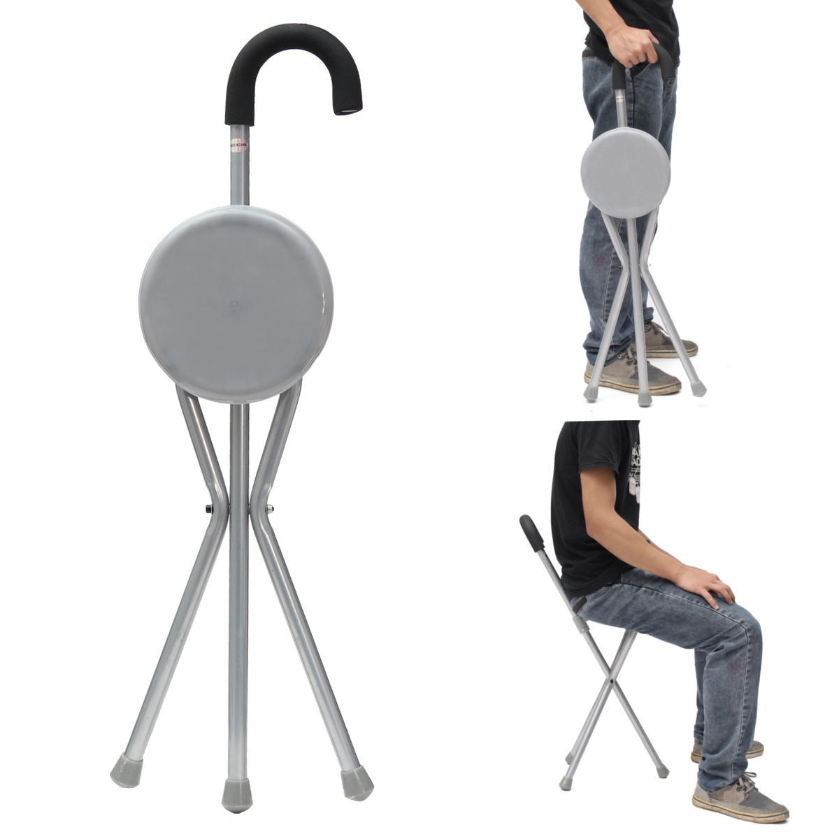 Portable Stool Outdoor Travel Folding Stool Chair Portable Tripod Cane Walking Stick Seat Camping Hiking