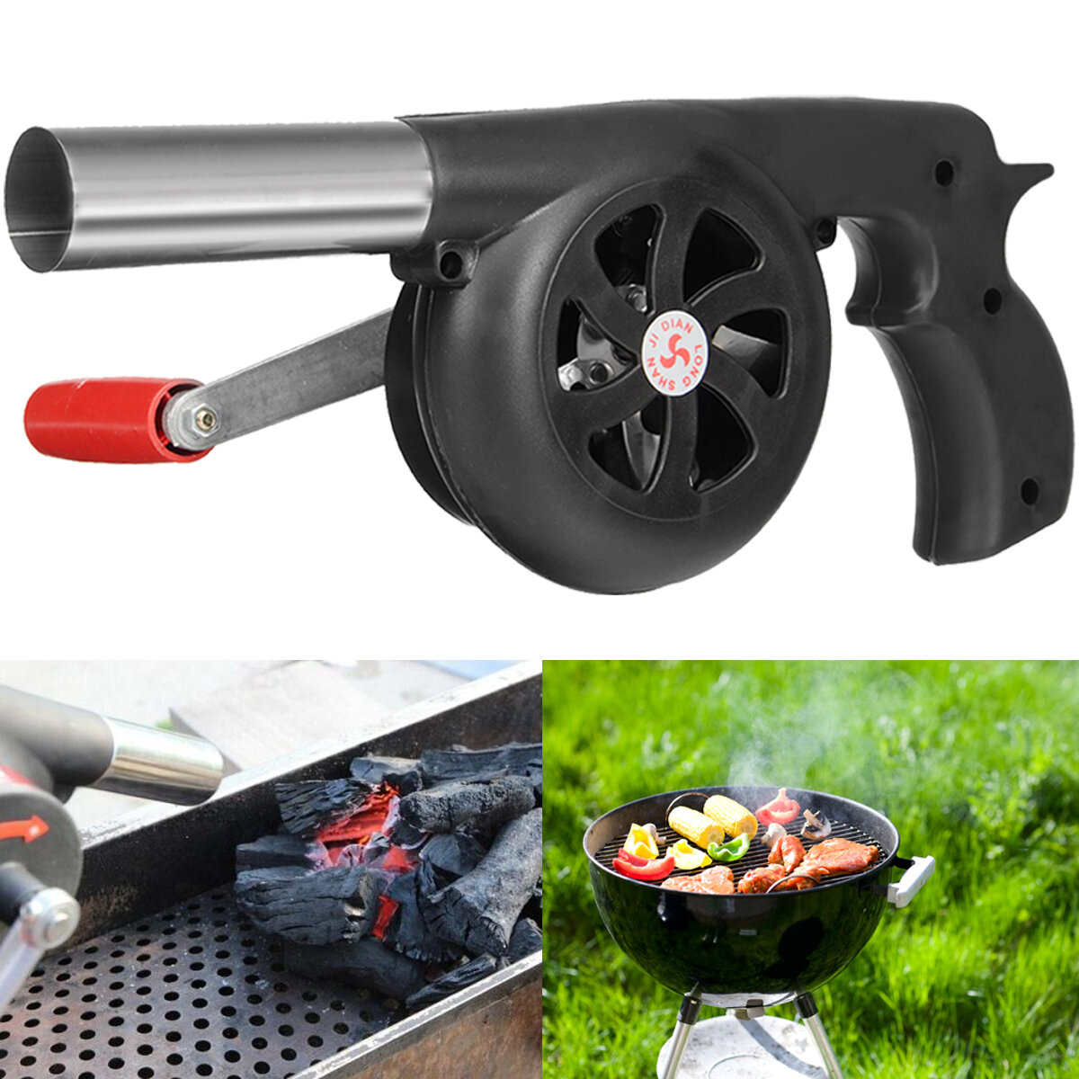 Charcoal Bbq Bbq Charcoal Grill Beads Fire Starter Powerful Fan Blower Large Hand Crank