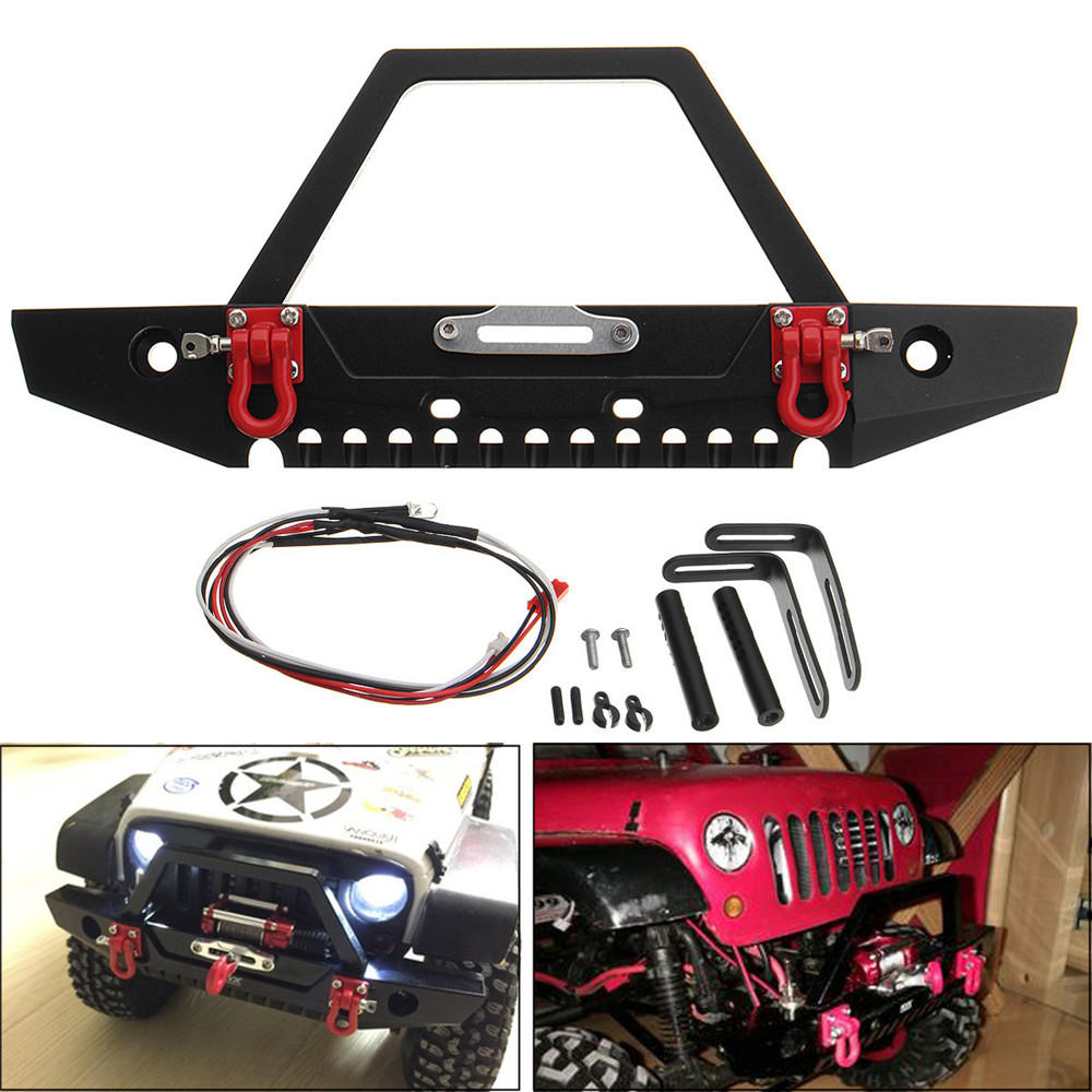 Led Lights For Trucks Aluminum Front Rc Car Bumper With Led Light For Axial Scx10 Crawler 4wd Truck 1 10 Rc Car