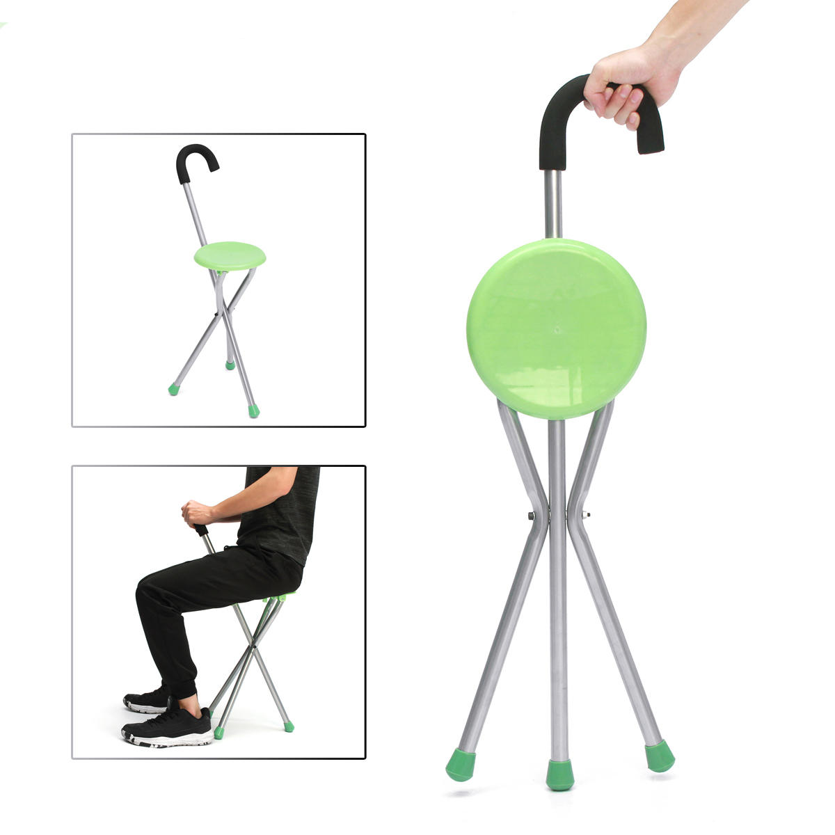 Portable Stool Camping Folding Tripod Cane Walking Stick Seat Portable Stool Chair Max Load Bearing 130kg