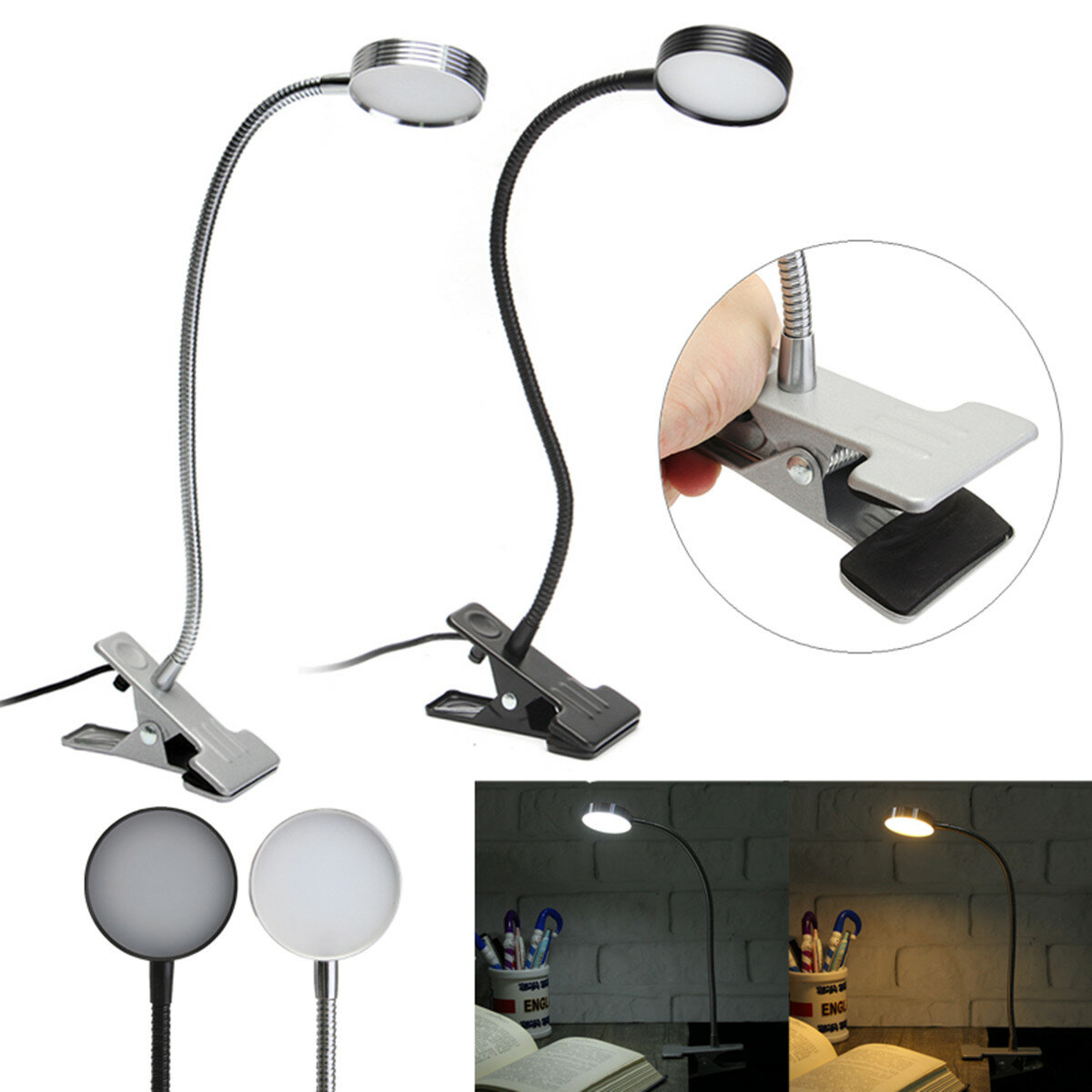 Clip On Bed Lamp 5w Flexiable Usb Clip On Led Table Desktop Light Bedside Laptop Bed Reading Lamp