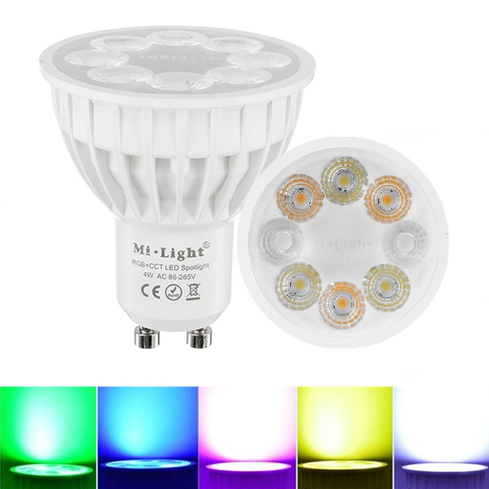 Dimbare Lamp Dimbare Gu10 4w Mi Light 2 4g Draadloze Rgbcct Led Spotlight Lamp Bulb Ac86 265v