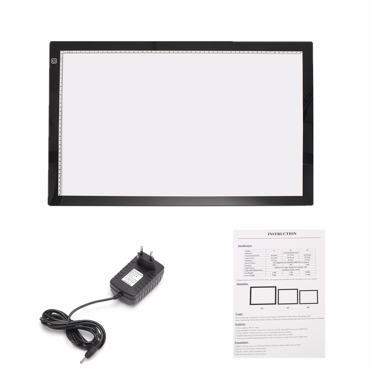 Design Dimbar A2 Dimbar Tunn Led Art Stencil Tracing Ritbord Light Pad Touch Sensor