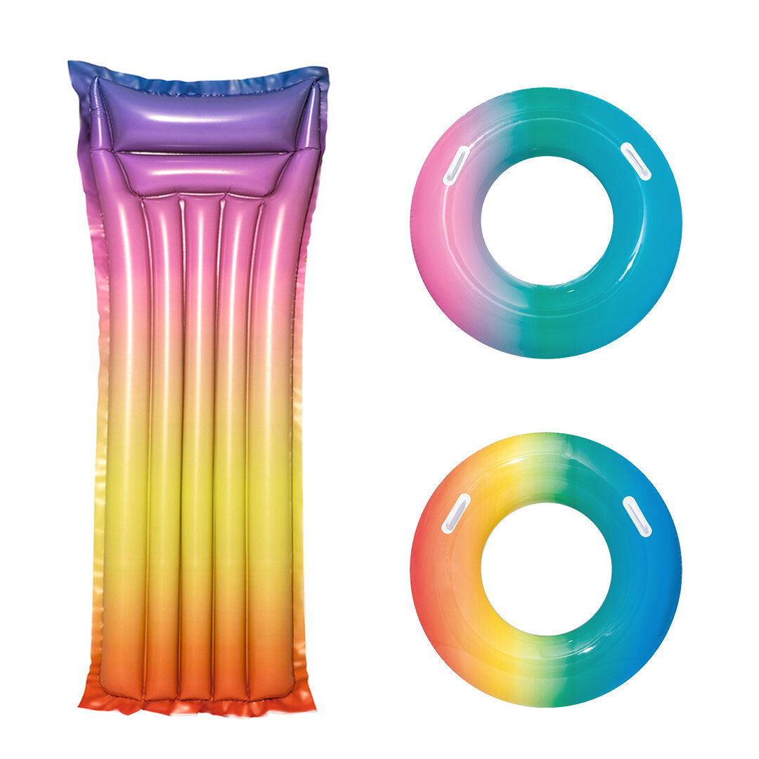 Poolzubehör Fun Xiaomi Bestway Rainbow Colorful Inflatable Floating Swimming Ring Beach Water Pool Party Toys