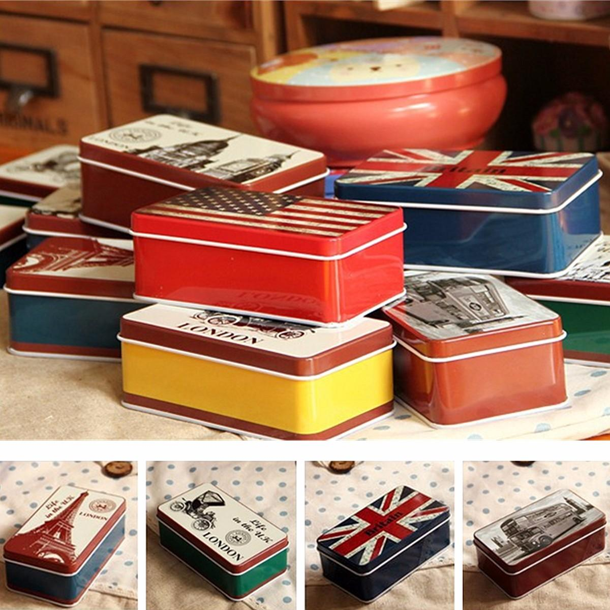 Stationary Boxes Vintage Tin Uk Flag London Big Ben Bus Stationery Jewelry Storage Box