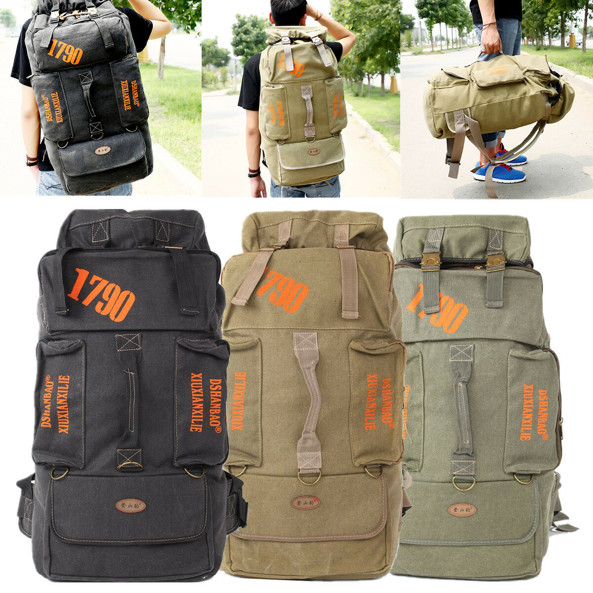 Travel Rucksack 80l Camping Hiking Canvas Backpack Mountaineering Travel Rucksack Trekking Bag