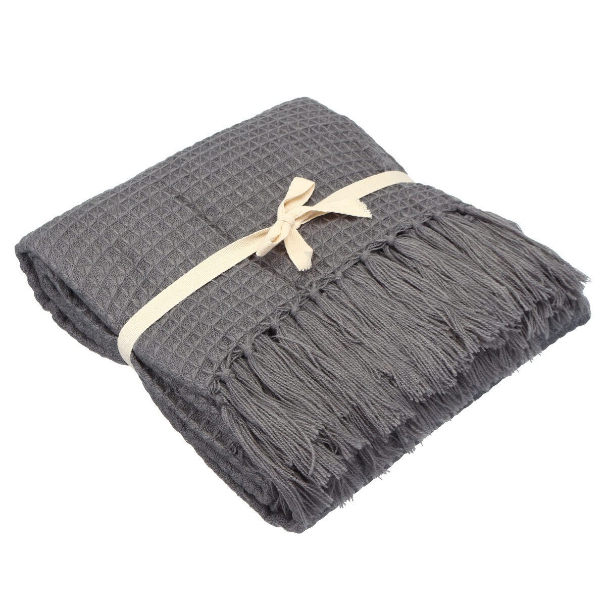 Decorative Sofa Throws Blankets Soft Knitted Throw Blankets Bed Sofa Couch Decorative Fringe Waffle Pattern