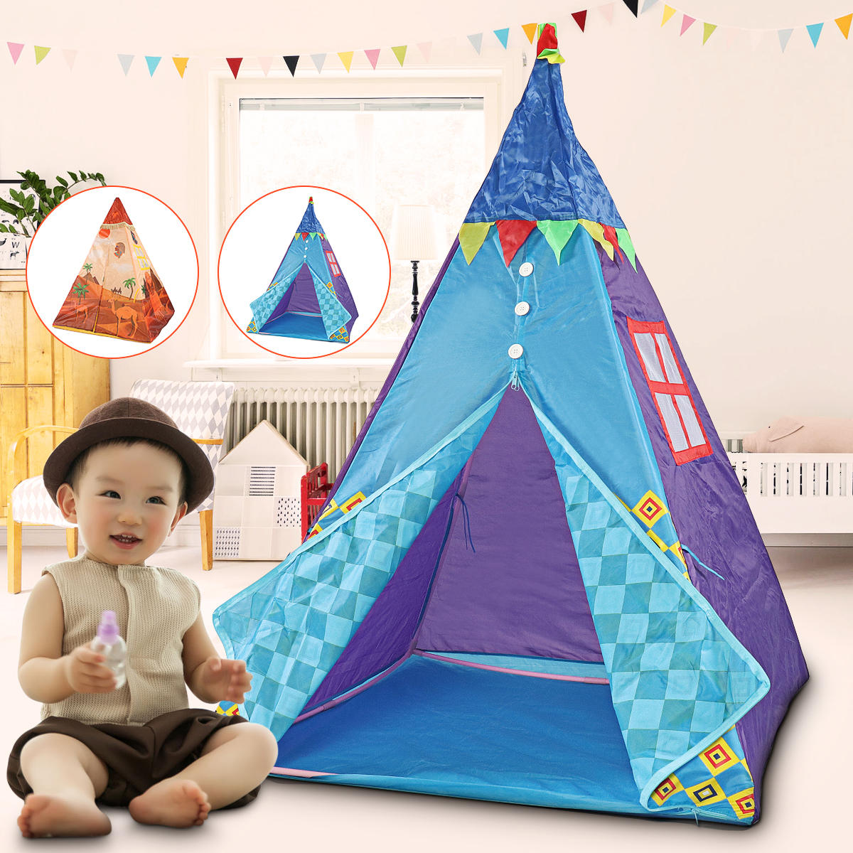 Kids Play Tent 39 3x39 3x51inch Four Poles Kids Play Tent With Led Lantern Cotton Outdoor Children Playhouse Room