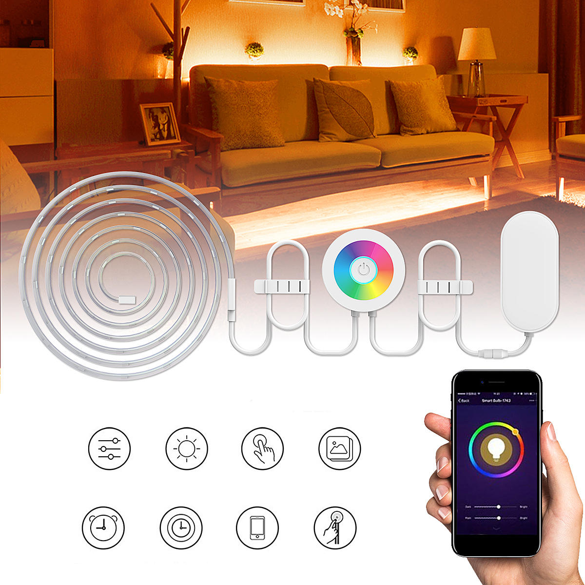 Led Strip Waterproof 2m Waterproof Smd5050 Rgb Smart Wifi Led Strip Light Work With Alexa Echo Voice Control Dc12v