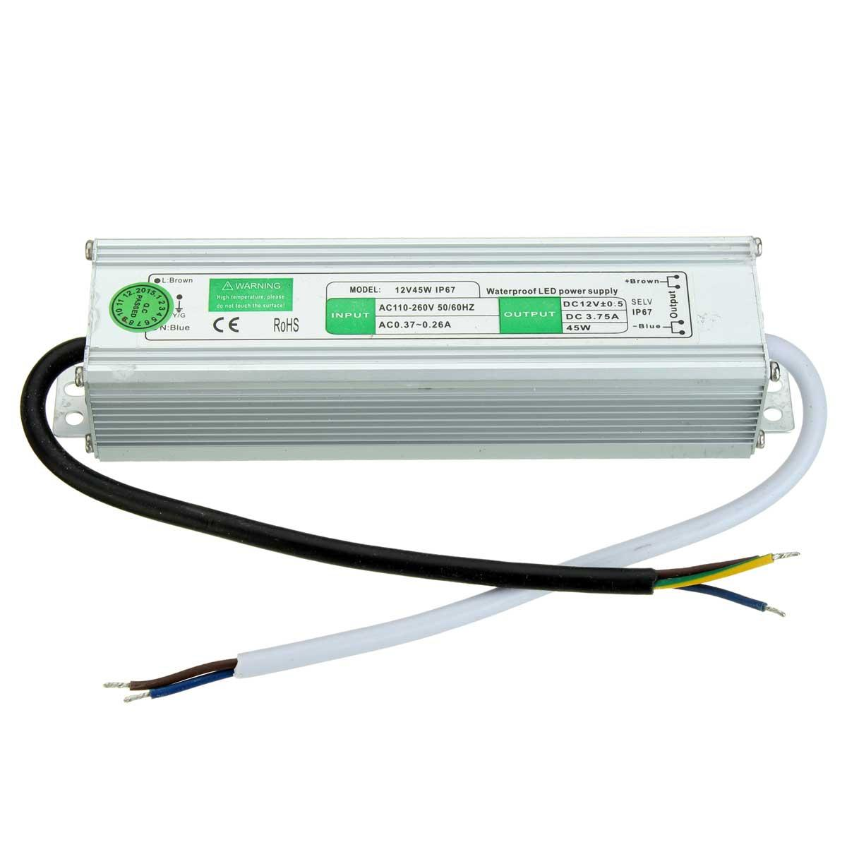12v Ip67 Dc 12v 3 7a 45w Waterproof Ip67 Electronic Led Security Camera Power Supply 50 60hz