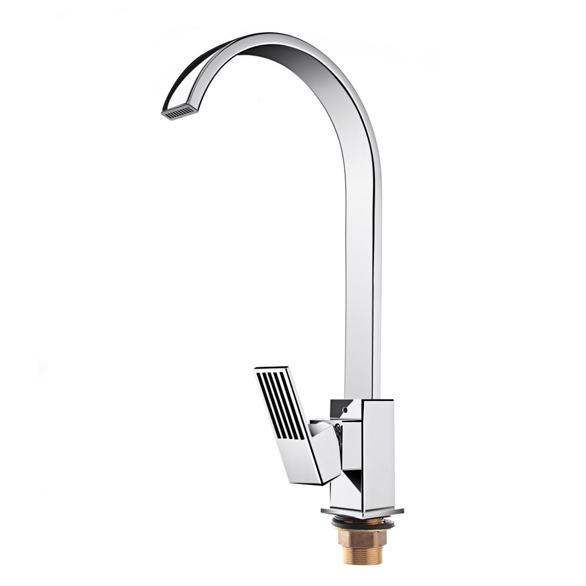 Kitchen Mixer Tap Square Single Lever Sink Faucet Mixer Tap Swivei Spout Brass Kitchen Bathroom