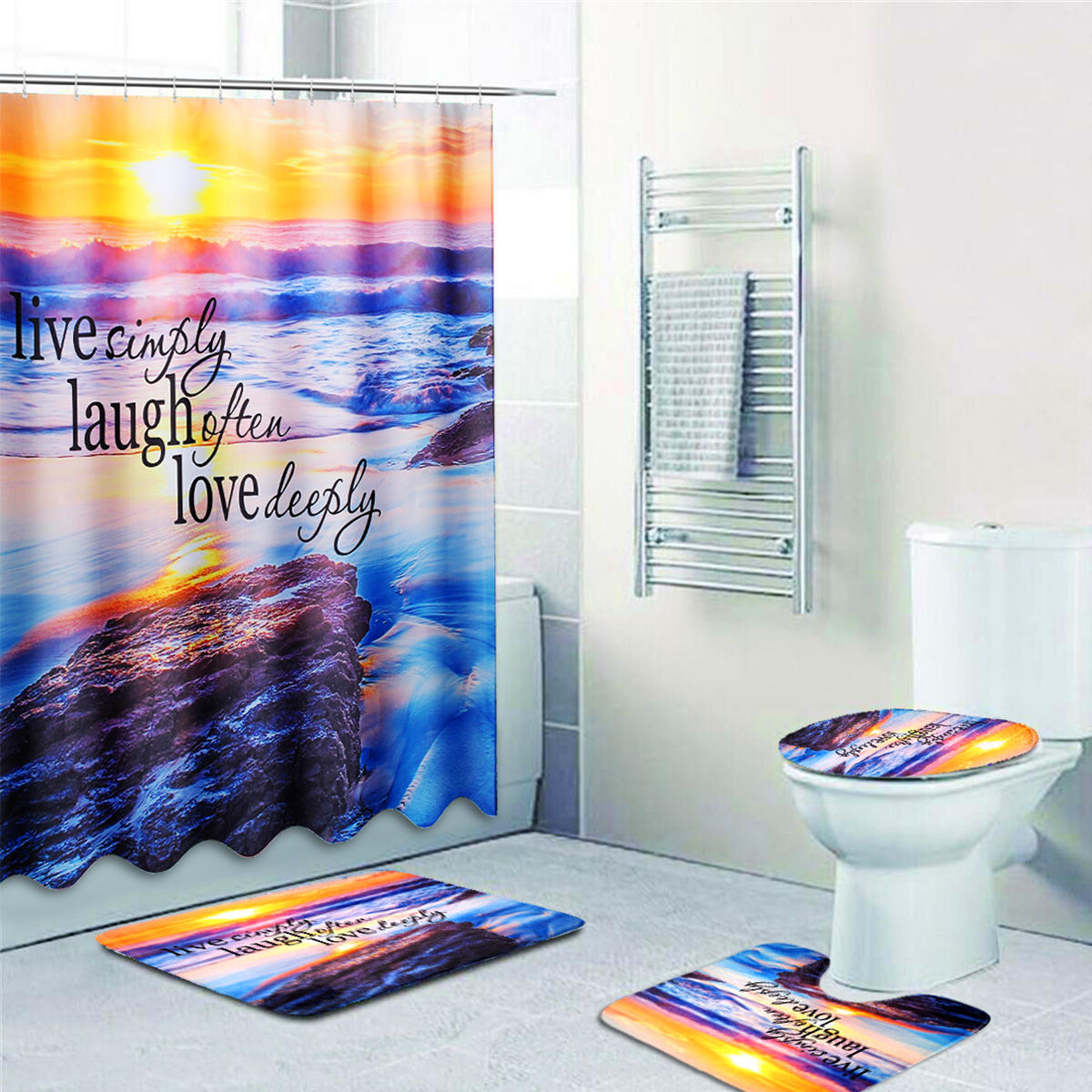 Sims 3 Badkamer Sandy Beach Waterproof Badkamer Douchegordijn Toilet Cover Mat Antislip Tapijt Set