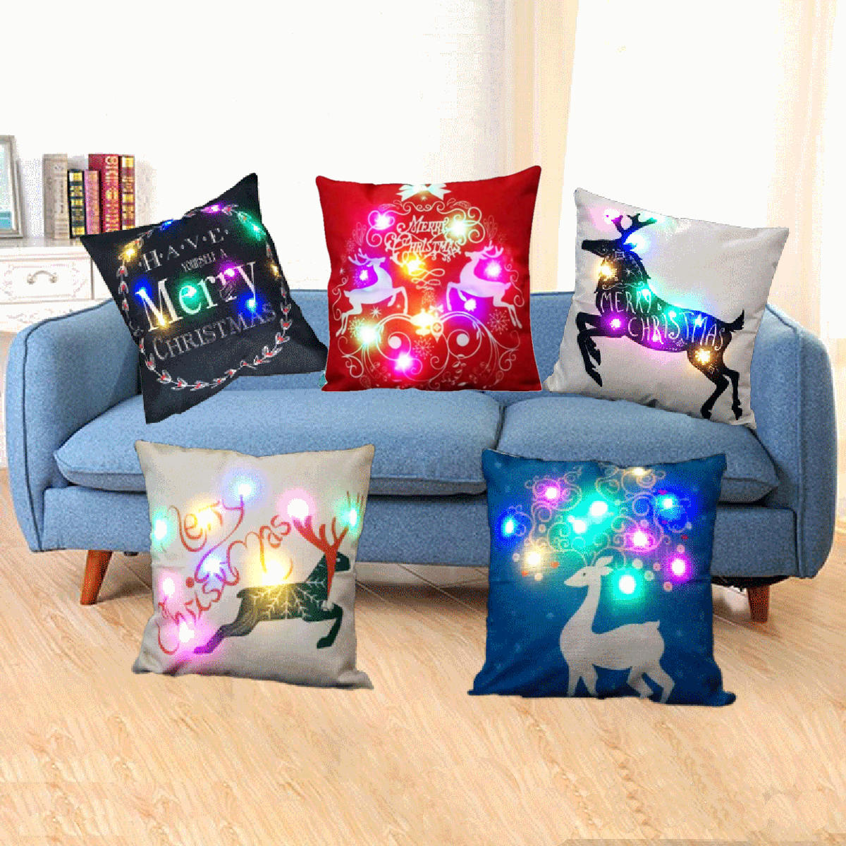 Sofa Led Christmas Led Lights Linen Pillow Case Cushion Cover Home Decor Bed Sofa Case