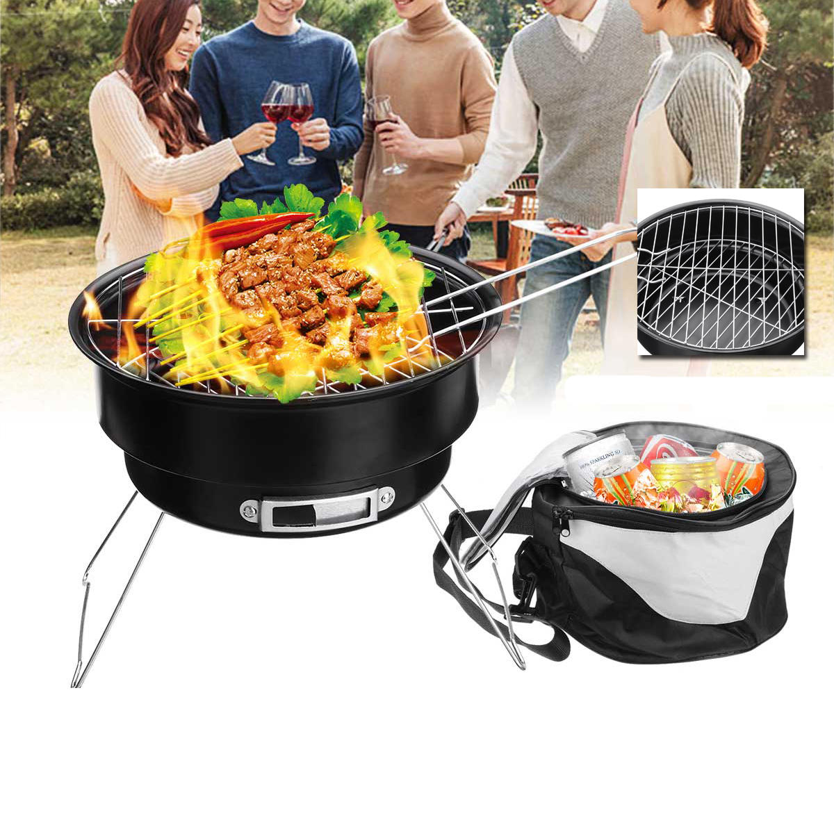 Small Barbecue Grill 2 In 1 Portable Barbecue Oven Folding Bbq Grill With Cooler Bag Camping Hiking Picnic