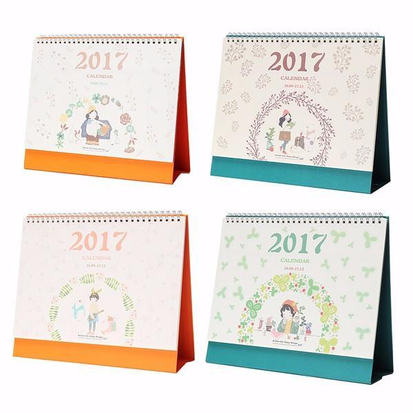 2017 lovely girl floral flip paper calendar schedule planner desk