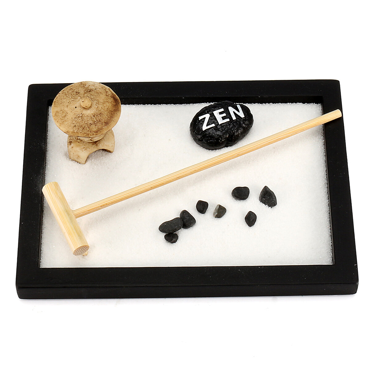 Feng Shui Büro Mini Relax Peace Meditation Kit Yoga Office Feng Shui Sand Pebble Rack Table Top Decor Gift
