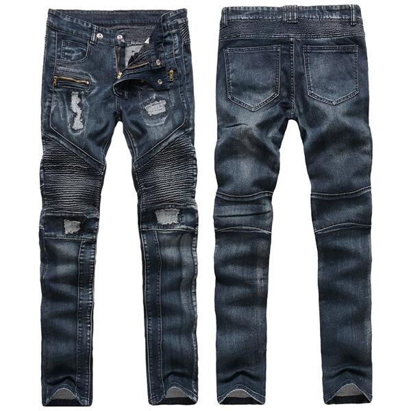 mens fashion biker vintage fold ripped jeans hole straight leg