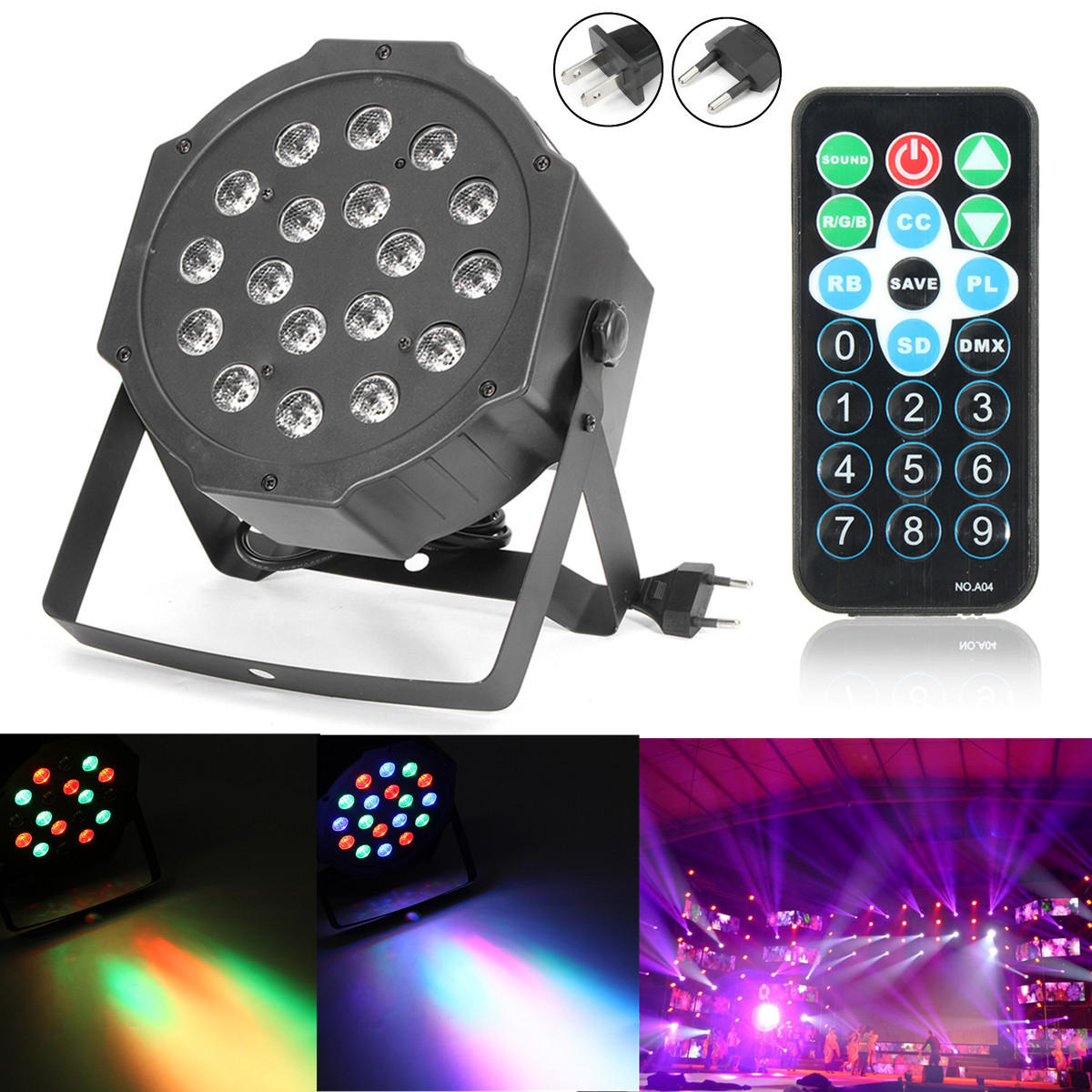 Led Dmx 18w Rgb Led Stage Light Dmx Par Can Dj Disco Uplighter Strobe Lighting